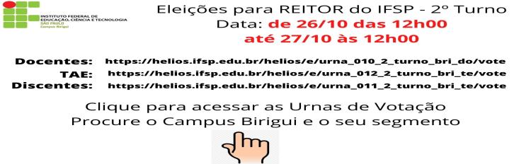 Votação 2º Turno - REITOR IFSP