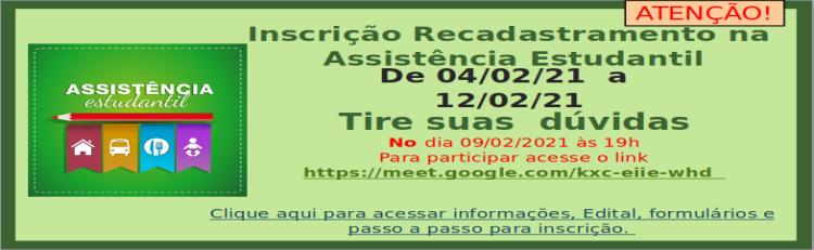 Edital 001/21 – Recadastramento na Assistência Estudantil –Programa de Auxílio Permanência (PAP)